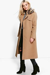 Boohoo Emily Faux Fur Collar Wool Look Coat Camel