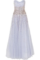 Jenny Packham Marielle Strapless Embellished Tulle Gown Lilac