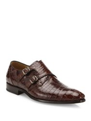 Mezlan Double Monk Strap Alligator Leather Dress Shoes Brown
