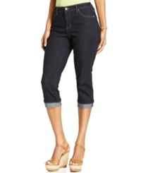 Style And Co. Petite Jeans Tummy Control Cuffed Capri Rinse Wash