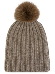 Danielapi Pompom Ribbed Beanie Brown