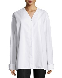 The Row Moyo Long Sleeve Oversized Shirt White