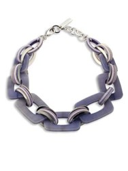 Lafayette 148 New York Gradient Finish Square Link Necklace Raffia Multi Denim Multi