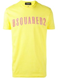 Dsquared2 Vintage Embroidered Logo T Shirt Yellow Orange