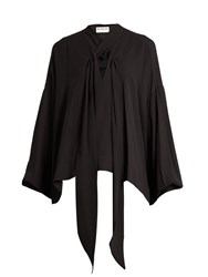 Balenciaga Blouson Sleeved Silk Crepe Blouse Black