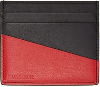 Jil Sander Black And Red Leather Card Holder