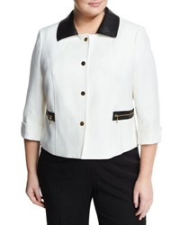 Tahari Asl Plus Wanda Ponte Jacket W Faux Leather Trim White Black