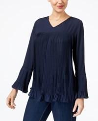Style And Co Pleated Bell Sleeve Blouse Created For Macy's Industrial Blue