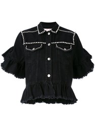 Msgm Embellished Ruffle Denim Jacket Women Cotton 38 Black