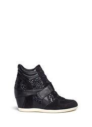 Ash 'Bowie' Glitter Leather Combo Concealed Wedge Sneakers Black Metallic