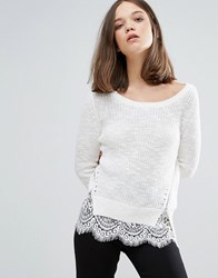 Only Knit Side Zipped Jumper With Lace Underlayer Cloud Dancer White