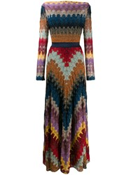 Missoni Chevron Pattern Maxi Dress Brown