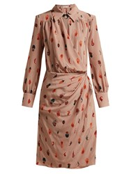 Altuzarra Kat Feather Printed Silk Midi Dress Beige Print