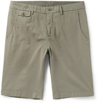 Loro Piana Madison Washed Stretch Cotton Shorts Green