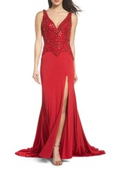 Mac Duggal 'S Beaded Bodice Sheath Gown Red