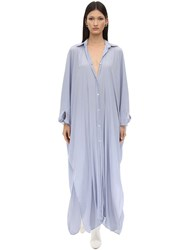 Lanvin Maxi Techno Shirt Dress Light Blue