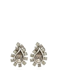 Etro Paisley Crystal Embellished Clip Earrings Silver