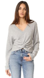 Alexander Wang T By Deep V Twist Front Sweater Heather Grey