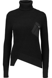 Marc By Marc Jacobs Asymmetric Cotton And Silk Blend Turtleneck Sweater Black
