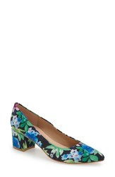 Women's French Sole 'Reef' Pointy Toe Pump Navy Flower Fabric