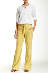 Level 99 Alana Linen Blend Lounge Pant Yellow