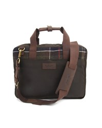 Barbour Waxed Cotton And Green Tartan Wool Briefcase