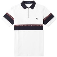Fred Perry Half Zip Taped Polo White
