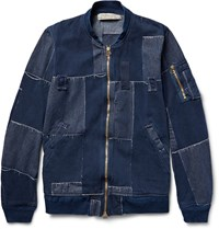 Remi Relief Patchwork Cotton Bomber Jacket Blue