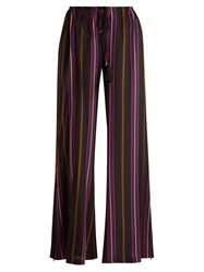 Figue Simone Striped Straight Leg Silk Trousers Pink Multi