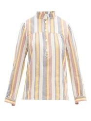 A.P.C. Loula Striped Cotton Crepe Blouse Ivory Multi