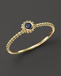 Lagos 18K Gold And Round Blue Sapphire Stackable Ring Gold Blue