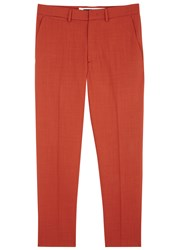 Mcq By Alexander Mcqueen Orange Slim Leg Wool Trousers Burgundy