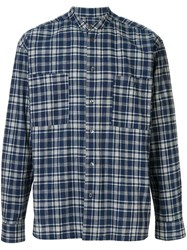 Bassike Checked Chest Pocket Shirt Blue