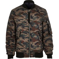 River Island Mens Green Camo Print Quilted Jacket