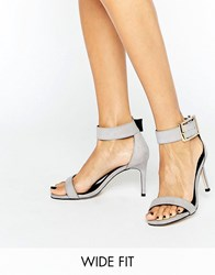 Asos Hanson Wide Fit Heeled Sandals Grey