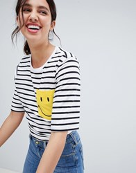 Lee Smile Collab Stripe T Shirt With Pocket White Black Multi