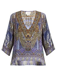 Camilla It Was All A Dream Silk Top Blue Multi