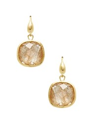 Rivka Friedman Crystal Square Drop Earrings Gold