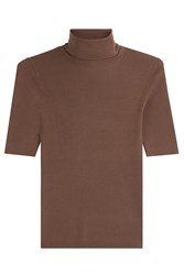 Theory Merino Wool Turtleneck With Short Sleeves Brown