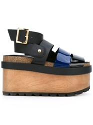 Sacai Patent Flatform Sandals Women Leather Patent Leather Rubber 36 Black