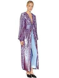 Attico Sequined Coat With Puff Sleeves Lilac