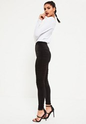 Missguided Black Slinky Ruched Leggings