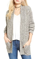Cotton Emporium Women's Marled Knit Open Cardigan Grey