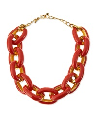 Kenneth Jay Lane Coral Enamel And Gold Plated Link Necklace