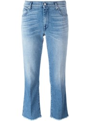7 For All Mankind Raw Hem Cropped Jeans Blue