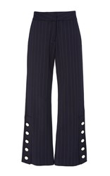 Prabal Gurung Cropped Trousers With Buttons Navy
