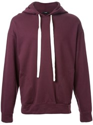Bassike 'Legacy Fleece' Hooded Sweater Pink And Purple