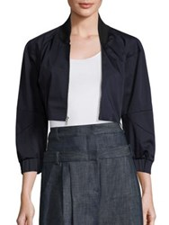 Tibi Mila Satin Bomber Jacket Dark Navy