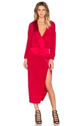 Mason By Michelle Mason Long Sleeve Wrap Dress Red