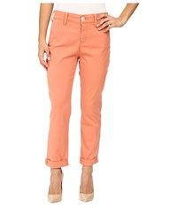 Nydj Petite Riley Relaxed Chino In Lightweight Twill Coral Spice Women's Jeans Orange